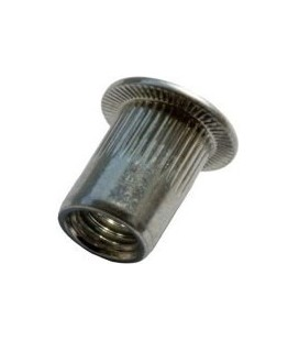 Заклепка M10*22 мм из нержавеющей стали с внутренней резьбой, цилиндрический бортик, с насечкой